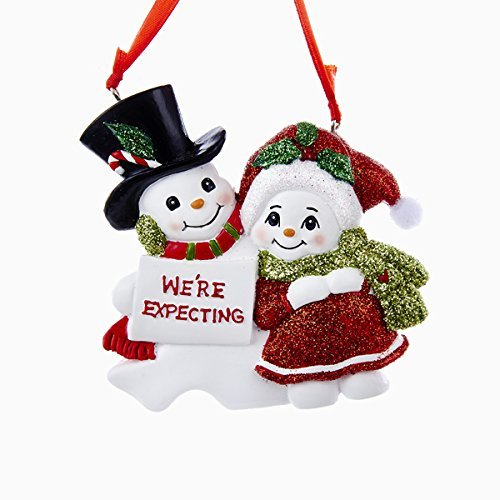 Kurt Adler Snowcouple We're Expecting Resin Family Ornament (Mother Expectant Christmas Ornaments)