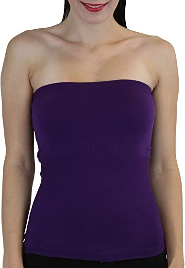 17c9fc54db ELINA FASHION Hollywood Star Women s Plain Stretch Seamless Strapless Layer  Tube Top (One Size