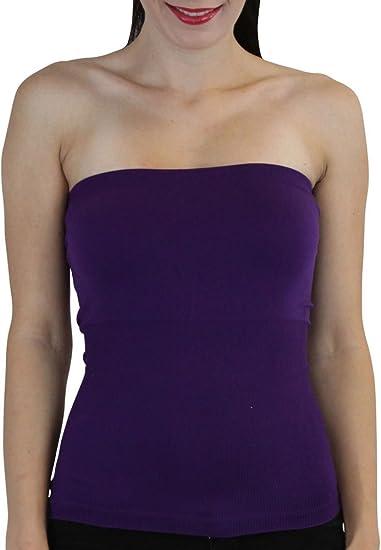 fa7f62134b ELINA FASHION Hollywood Star Women s Plain Stretch Seamless Strapless Layer  Tube Top (One Size