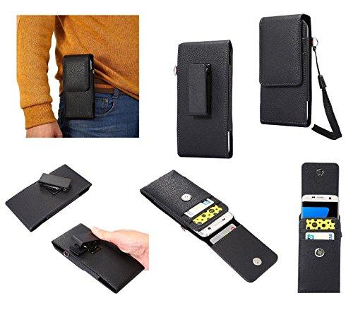 DFV mobile - Funda Ejecutivo Cinturon con Clip Giratorio 360 Piel Sintetica Premium para => HIGHSCREEN POWER ICE MAX > Negra
