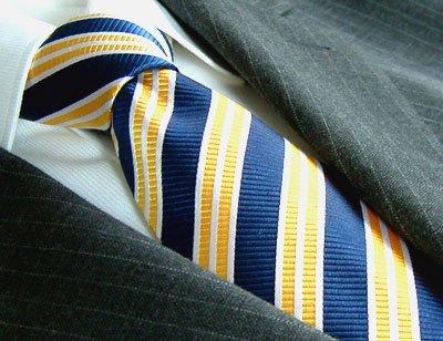 Jacquard Woven Italian 100/% Silk Tie Blue Yellow Striped 84007 LORENZO CANA