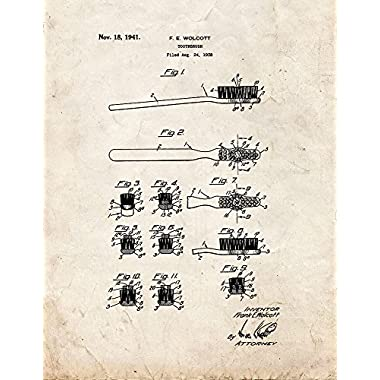Toothbrush Patent Print Art Poster Old Look (8.5  x 11 )