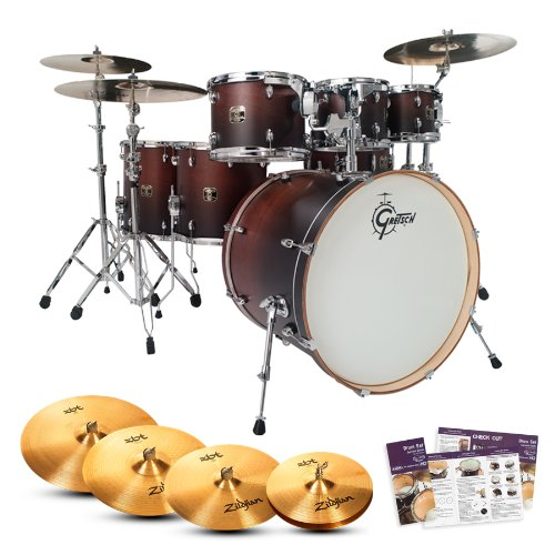 Gretsch-CMT-E826P-SWF-Catalina-Maple-Satin-Walnut-Fade-7-Pc-Shell-Pack-w-Cymbals-Drum-Set-Survival-Guide