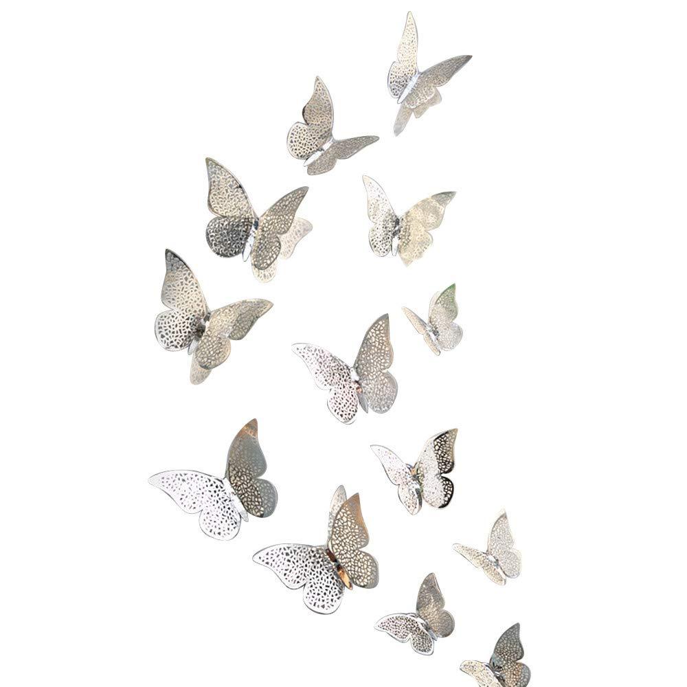 Pet1997 12 Pcs New 3D Hollow Butterfly Wall Stickers, Butterfly Fridge for Home Decoration - Gold & Silver - 3 Size: 12CM (4pcs), 10CM (4pcs), 8CM (4pcs) (D Silver)