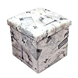 "Storage Ottoman,U'Artlines Folding Retro Square Storage Ottoman Home Décor Foot Rest Stool Seat Storage Box With Lift Top,15 by 15 by 15 Inches (15""X15""X15"", D)"