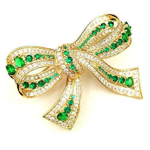 DREAMLANDSALES Victorian Vintage Two Tone Golden and Green Bowtie Brooches - Tone Brooch Two Butterfly