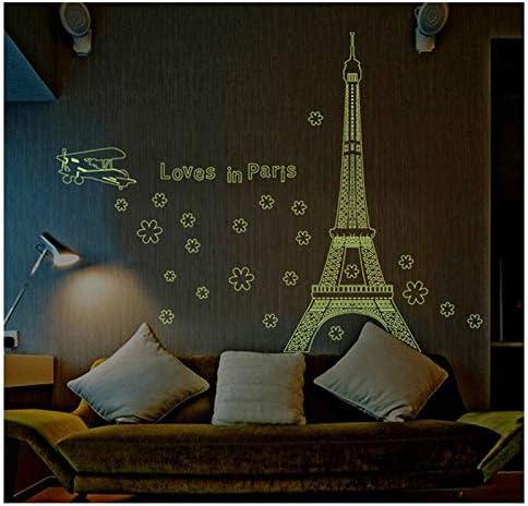 ZRSCL Creative Tower Glow In Night Paris City Building Wall Stickers Decoración del hogar Sala de estar Pvc Tatuajes de pared Diy Mural Art Posters60CMX90CM: Amazon.es: Bricolaje y herramientas