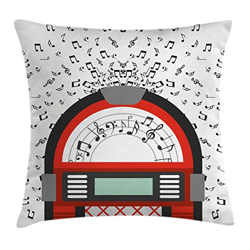 Retro Jukebox Vintage (Ambesonne Jukebox Throw Pillow Cushion Cover, Cartoon Party Music Antique Old Vintage Retro Box with Notes Artwork, Decorative Square Accent Pillow Case, 18 X 18 Inches, Red Black Grey and White)