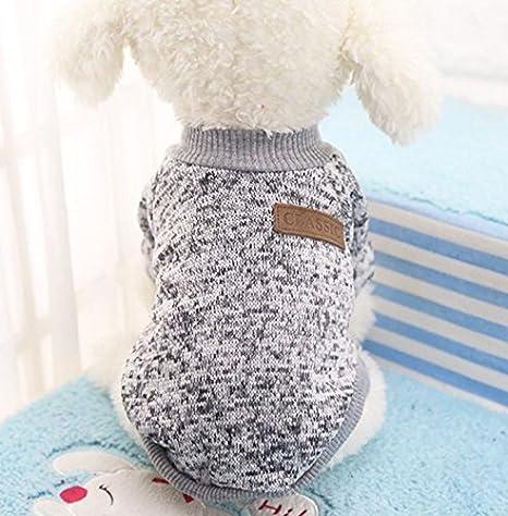 Caliente Ropa de Perros, Chaqueta Abrigo Cálido Suéter de Algodón de Invierno Otoño Suave Para Perros Pequeños Gatos Cachorros Mascotas,Gris M: Amazon.es: ...