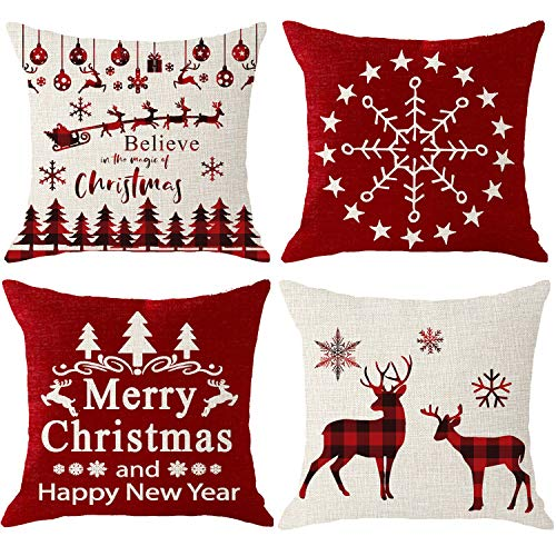NIDITW Set of 4 Merry Christmas and Happy New Year Deer Santa Claus Sleigh Reindeer Snowflakes Red Plaids Body Burlap Decorative Square Pillow Case Cover Pillowcase for Sofa 45x45cm