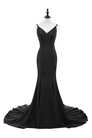 Sarahbridal Prom Dresses Women Long Formal Evening Dresses Simple Style Sexy Fishtail Gown SQS063 Black Size