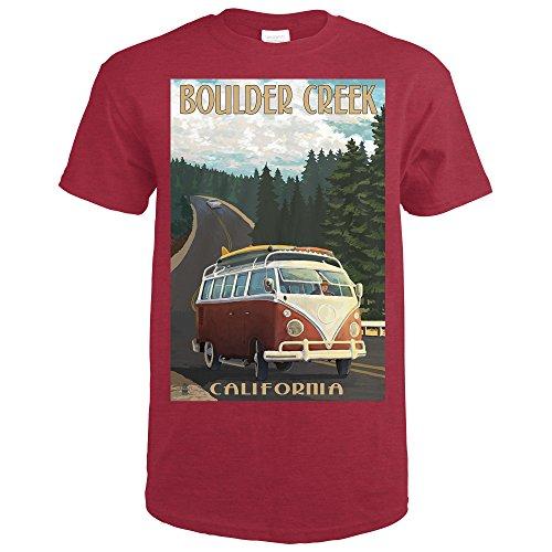 Boulder Creek, CA - Camper Van Cruise (Forest) (Heather Cardinal Red T-Shirt Small) Boulder Small Wall Lantern