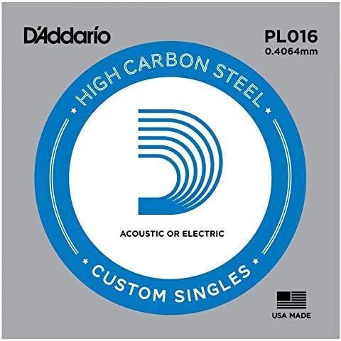 D'Addario PL016 - Cuerda individual de acero liso para guitarra.016