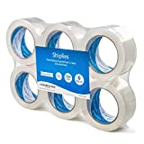 Shiplies Clear Packing Tape1.88'' x 60 Yards per Roll (Pack of 6 Refill Rolls) Stronger 3.2mil, Heavy Duty Sealing Clear Adhesive Tape for Moving Packaging Shipping, Office and Storage