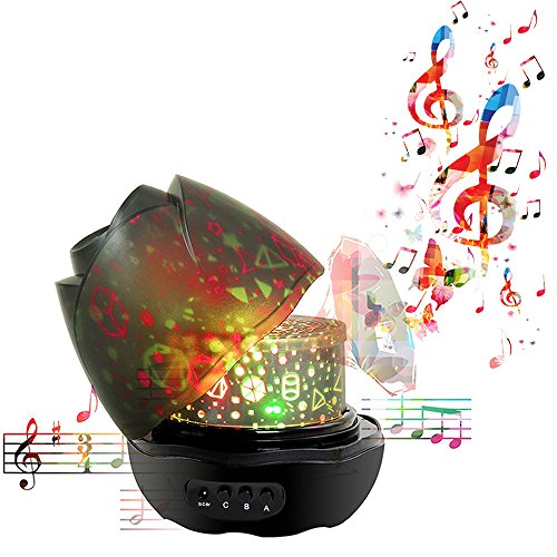 Nasus Music Night Light Projector, Newest Animal Forest Patterns Musical Rotating Baby Projection Bedroom Mood Lamps with 12 Songs for Valentine's Day Gift (Infant Musical Lamp)