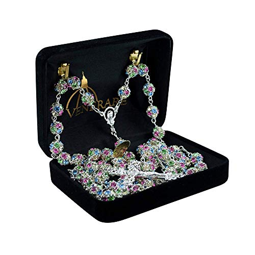 Genuine Swarovski Crystal Rosary | Beautiful Multicolored Shining Beads | Authentic from Italy | Comes with Authentication Certificate and Display Case | Christian Jewelry