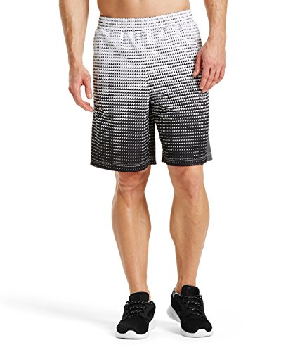 """Mission Mens VaporActive Element 9"""" Basketball Shorts, Bright White Ombre, Large"""