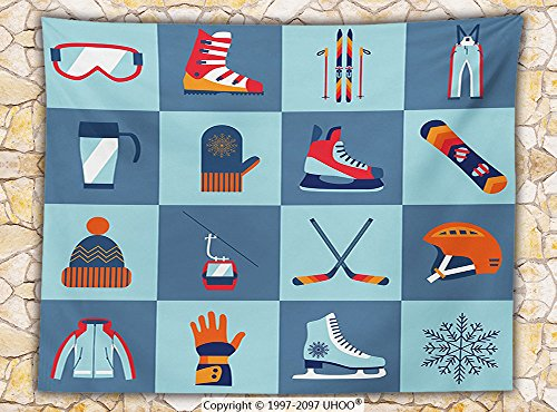 Kids Decor Fleece Throw Blanket Ice Skating Winter Sports Skiing Boot Cap Glasses Glove Helmet Skates Snowboard Print Throw
