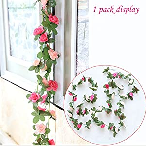 Babycola's Mum 2 Pack Fake Rose Vine Flowers Plants Artificial Flower Home Hotel Office Wedding Party Garden Craft Art Decor (Pink) 3