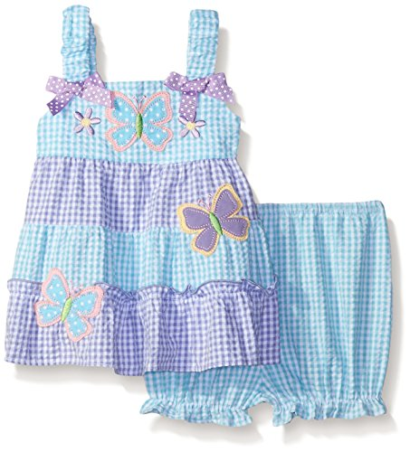 Seersucker Sundress (Baby Goodlad Baby Girls' Butterfly Applique Seersucker Sundress, Purple, 18 Months)