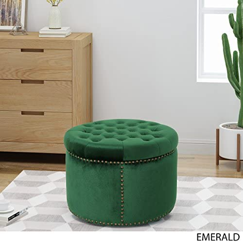 Christopher Knight Home Carlos Glam Velvet Tufted Ottoman, Emerald