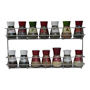 2 tier spice rack cabinet door and wall mountable spice rack herb rack chrome. Black Bedroom Furniture Sets. Home Design Ideas