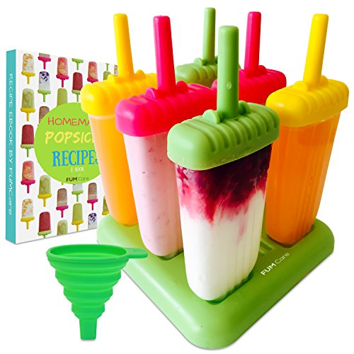 FUMCare Popsicle Molds Set of 6 Bpa-Free Reusable Large Ice Pop Maker With a Tray, Silicone Funnel, Cleaning Brush and a Homemade Ice Cream Mold Recipe E-Book