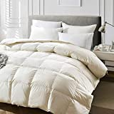 110 Inch Wide Comforters King Goose Down Comforter - Luxury Goose Filled Down Feather Comforter Duvet Insert - 1200TC 100% Cotton Shell Soft 500-600 High Fill Power for All Season Bedding, 110x90 Light Tan