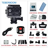 TEBERBOOM Sport Action Camera, Waterproof Sport Camera S2R WiFi 4k Ultra HD 170 Degree Wide View Angle,100ft Underwater and Mounting Accessories Kit with Wireless Control (Black)