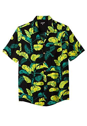 KS Island Men's Big & Tall Tropical Caribbean Camp Shirt, Yellow Leaf Tall-4XL
