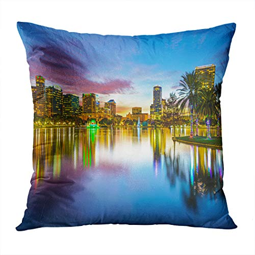 Peyqigo Throw Pillow Cover 20x20 Inch Famous USA Urban Downtown View Orlando Florida EOLA Lake Romantic Scene Print Polyester Square Cushion Bedroom Couch Sofa Car Decorative Pillowcase