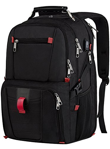 Travel Laptop Backpack,TSA Friendly Scansmart Durable Computer Bag w/ USB Charging Port/Headphone Hole for Men Women,Water Resistant Large Capacity Backpacks Fit Most 17-Inch Laptops & Notebook, Black
