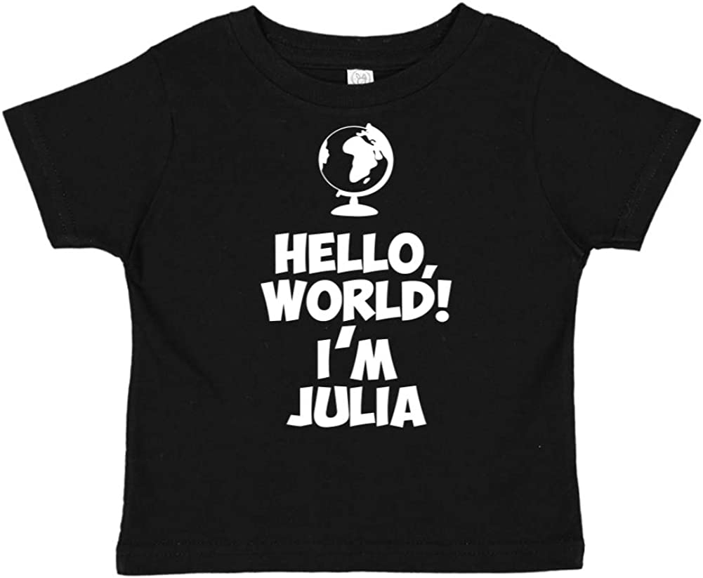 Mashed Clothing Hello Im Julia Personalized Name Toddler//Kids Short Sleeve T-Shirt World