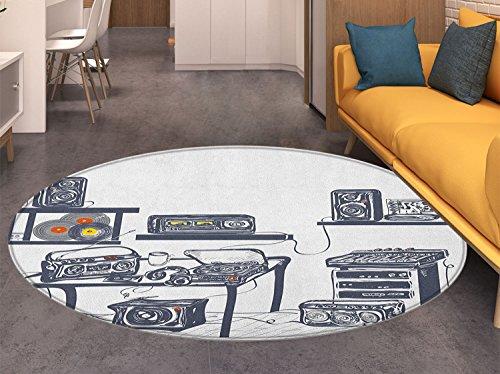 Modern small round rug Carpet Recording Studio with Music De