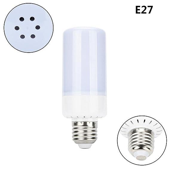 yjydada LED llama luz, 5 W 360 ° efecto de parpadeo llama fuego decorativa de bombilla de luz vacaciones: Amazon.es: Hogar