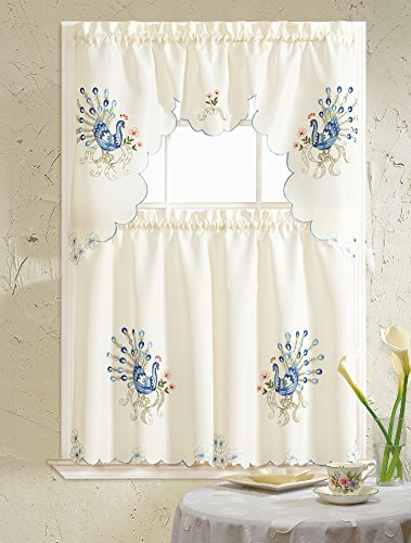 RT Designers Collection Blue Peacock Embroidered Kitchen Curtain