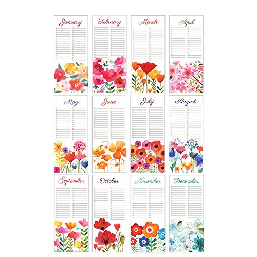 Gina B Margaret Perpetual Birthday Calendar, Annual Anniversary Reminder Calendar with Flower Artwork by Margaret Berg