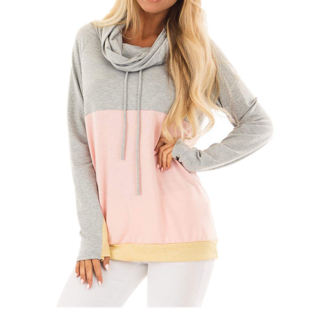 MBQMBSS Womens Sweatshirt Cowl Neck Long Sleeve Striped Pocket Drawstring Pullover Top Sweatshirt (M, 01)