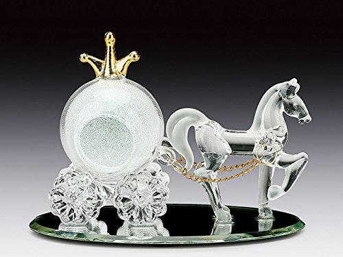 (Everspring Imports Cinderella's Glass Carriage with Horse Glass Figurine on Mirror Base Sweet 15, 16, Quinceanera Favor)