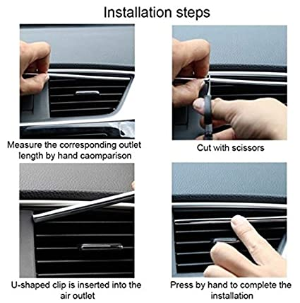 10Pcs//SET 20Cm Car Styling Interior Air Vent Grille Switch Rim Trim Outlet Scratch Guard Protector Car Styling Strip