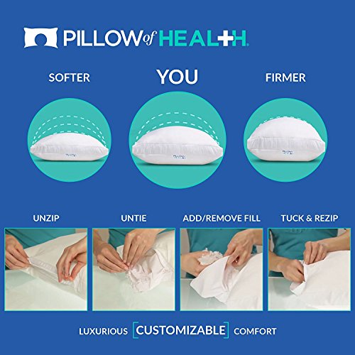 PILLOW of HEALTH | Luxury, Customizable, Therapeutic Pillow For Better Sleep | Patented Adjustable Design | Antimicrobial, Hypoallergenic, Dust Mite Resistant | Made in America - King 2 Pack by The Pillow of Health (Image #5)