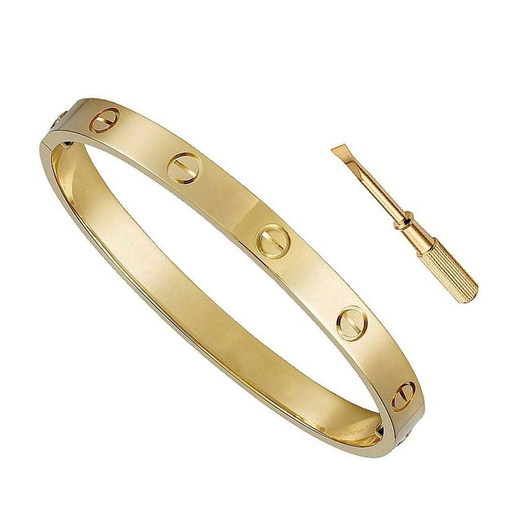 BESTJEW Womens Love Bracelet Stainless Steel Cuff Bangle Bracelet with Screwdriver 6.7Inch Gold