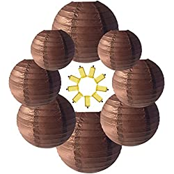 Neo LOONS Brown Round Chinese/Japanese Paper Lanterns Metal Framed Hanging Lanterns-- Assorted Sizes--Birthday/Wedding/Christmas/Ceiling Party Supplies Favors Hanging Decoration