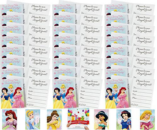 Disne Princess Party Supplies Snow White Cinderella and Ariel Invitations Bundle for 24 Guests with 24 Stickers