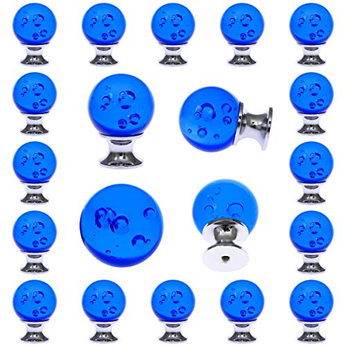 (17 pcs Round Crystal Blue Glass Drawer Pulls 30 mm Decorative Knobs for Kitchen Bathroom Cabinet, Dresser and Cupboard by)