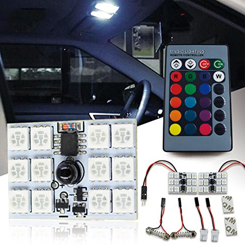 SOCAL-LED 2pcs RC Festoon LED Bulbs RGB 5050 12-SMD Bright Wedge Interior/Dome/Map/Door/License Plate Light (fits: T10, 31mm, 36mm, 39mm, 42mm)
