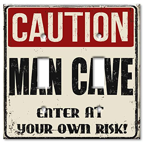 Art Plates 2 Gang Toggle Wall Plate - Caution Man Cave