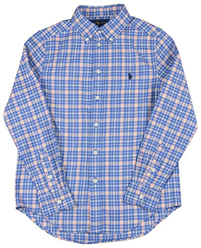 Polo RL Big Boys' (8-20) Woven Button Down Shirt-Blue/Orange-Small