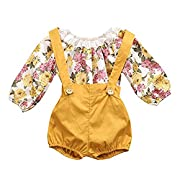 Eiffel Direct Baby Girls Floral Romper Jumpsuit Suspenders Pants Outfits Set (70/0-6 Months, Yellow)