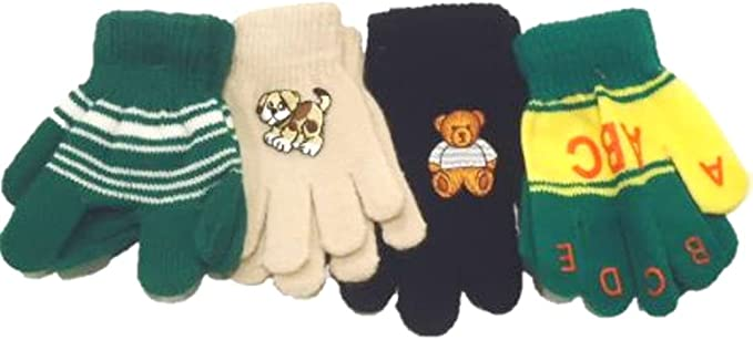Set of Four Pairs Stretch Magic Mittens Gloves for Infants Toddlers Ages 1-4 Years